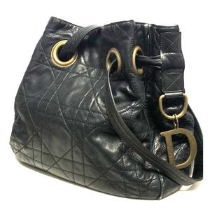Dior Cannage Quilted Black Leather Bag